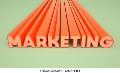 Marketing 3D Text in orange 3D letters on green Studio Background, 3D Illustration