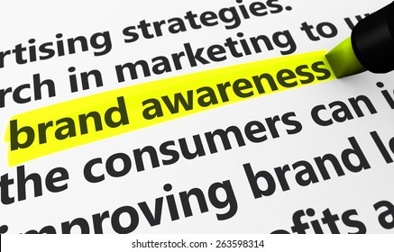 Marketing and advertising concept with a 3d rendering of brand developing strategies related words and brand awareness text highlighted with a yellow marker.