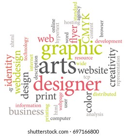 Marketing agency services or graphic designer job. Light colors word cloud.