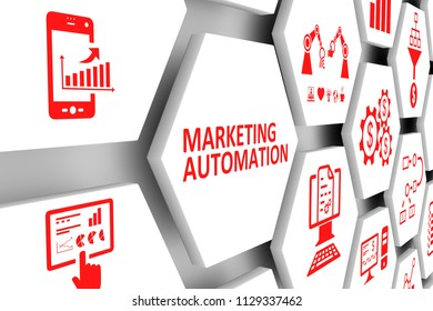 MARKETING AUTOMATION concept cell background 3d illustration
