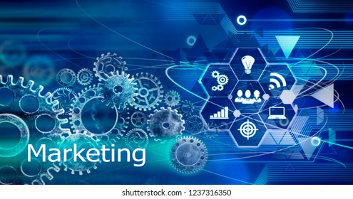 Marketing concept, Innovation Computer Data Cogs Technology,Training,background