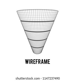 Marketing Conversion Funnel Sales Diagram. Wireframe poly mesh 3d render illustration. Concept of Business and Finance.