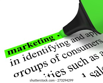 """Marketing - The dictionary-word """"marketing"""" marked with a green marker."""