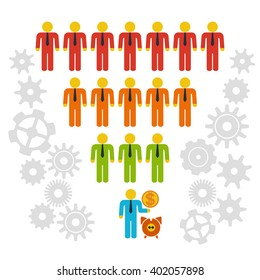 Marketing Funnel Sales Diagram with People and Cogs. isolated on white background. Conversion Funnel Sale Chart.