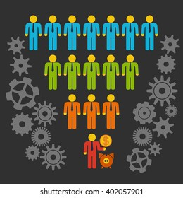 Marketing Funnel Sales Diagram with People and Cogs. isolated on black background. Conversion Funnel Sale Chart.