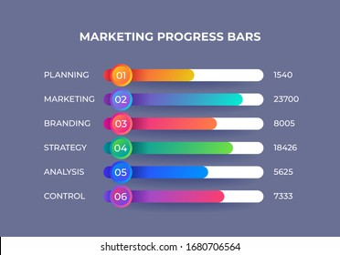 Marketing infographic elements. Presentation progress bar with financial categories, corporate report visualization.  illustration horizontal info graph