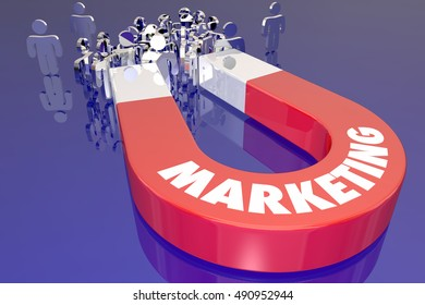 Marketing Magnet Pull Attract New Customers 3d Illustration