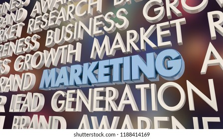 Marketing Research Lead Generation Business Growth Word Collage 3d Illustration