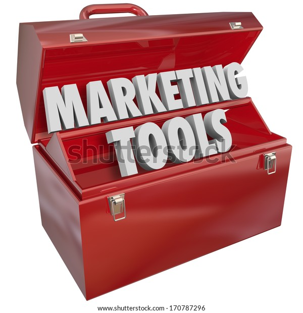 Marketing Skills words in a red metal toolbox to illustrate knowledge and talent in business for attracting customers and achieving growth goals for your company or organization