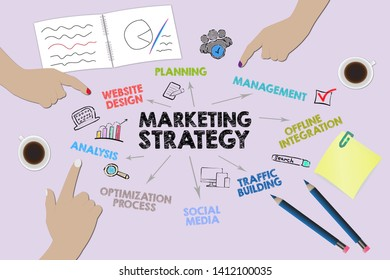 Marketing strategy Concept. Chart with keywords and icons. Illustration, business background