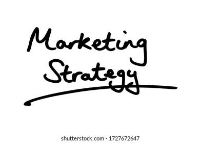Marketing Strategy handwritten on a white background.