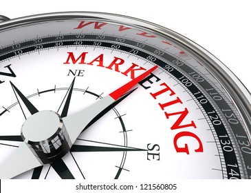 marketing word on conceptual compass isolated on white background