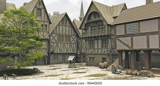 Marketplace in the centre of a Medieval or fantasy style town with church spire and castle towers behind, 3d digitally rendered illustration