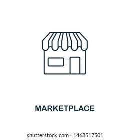 Marketplace outline icon. Thin line element from crowdfunding icons collection. UI and UX. Pixel perfect marketplace icon for web design, apps, software, print usage.