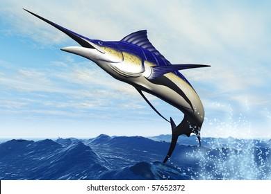 MARLIN JUMP - A sleek blue marlin bursts from the ocean surface in a grand leap.