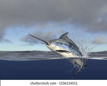 Marlin swordfish hafl in water, halfwater shot with splashes and acion 3d render