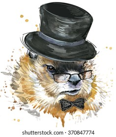 Marmot watercolor illustration. Groundhog Day.