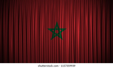Marocco flag in curtain background design for Independence day
