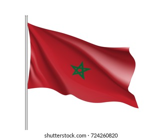 Marocco flag. Illustration of African country waving flag on flagpole.  3d icon isolated on white background. Realistic illustration