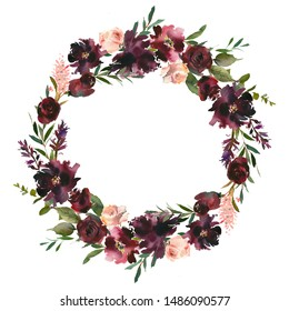 Maroon Blush Wine Colors Watercolor Floral Arrangement Isolated on White Background