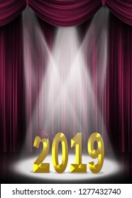 Maroon graduation cap on 2019 gold text in stage spotlight with curtain backdrop
