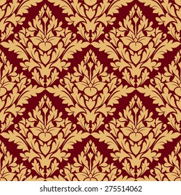 Maroon and orange damask seamless pattern for fabric design