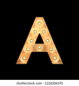 Marquee light Alphabet A with clipping path. 3D illustration