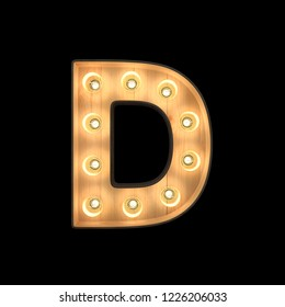 Marquee light Alphabet D with clipping path. 3D illustration
