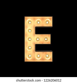 Marquee light Alphabet E with clipping path. 3D illustration