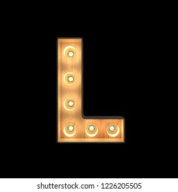 Marquee light Alphabet L with clipping path. 3D illustration
