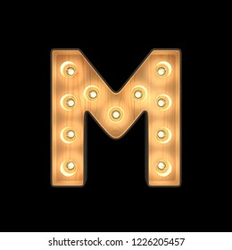 Marquee light Alphabet M with clipping path. 3D illustration