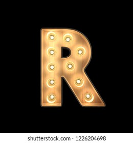 Marquee light Alphabet R with clipping path. 3D illustration