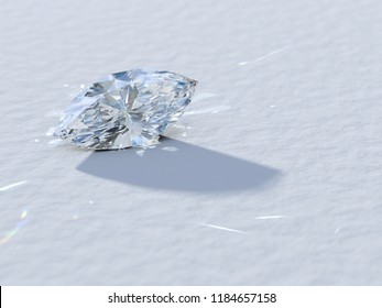 Marquise cut diamond close-up on white background, rear light, caustics rays. 3D illustration