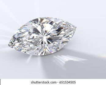 Marquise cut diamond on light blue background, back highlighted to throw a shadow ahead, with reflected rays, rainbow refraction caustics. Close-up view. 3D rendering illustration