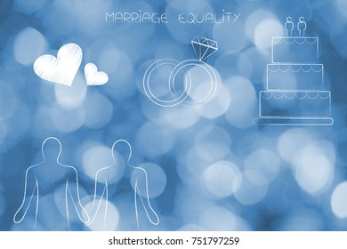 marriage equality conceptual illustration: gay homosexual couple with lovehearts wedding rings and cake above them