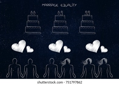 marriage equality conceptual illustration: heterosexual and homosexual couples with lovehearts and related wedding cakes (different cake toppers)
