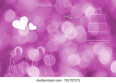 marriage equality conceptual illustration: lesbian homosexual couple with lovehearts wedding rings and cake above them