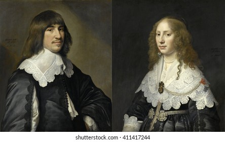 Marriage portraits of Henrick Hooft, and Aegje Hasselaer, his wife, by Michiel Jansz van Mierevelt, 1640, Dutch painting, oil on canvas. Hooft would later serve a Mayor of Amsterdam