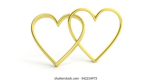 Marriage rings. Two golden interlocking hearts on white background. 3d illustration