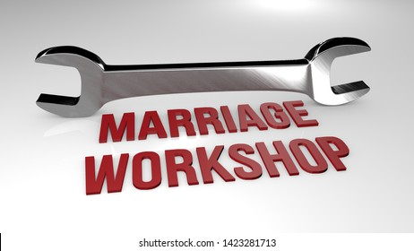 Marriage workshop title concept illustration. 3D render illustration.