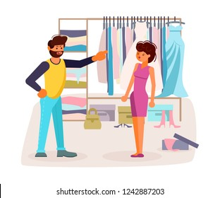 The married couple quarrels in flat design. Husband scold your Wife new for new purchases near the full clothes closet. Woman is frightened and surprised. Rastered copy