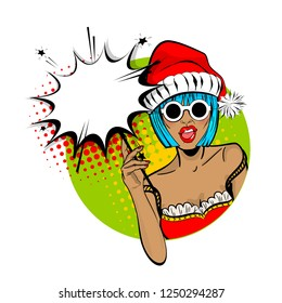 Marry Christmas young beautiful pop art woman pompom hat. Illustration isolated halftone popart wow face. Dare girl in red dress hold hand bengal fire, sparkler empty comic text speech bubble.