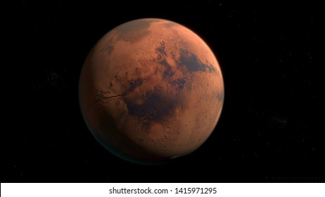 Mars 3d rendering showing surface features