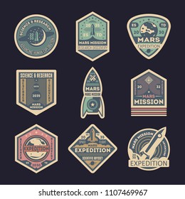 Mars expedition retro isolated label set. Space exploration badge, scientific odyssey symbol, modern spacecraft flying, martian discovery illustration. Planet colonization sign collection.