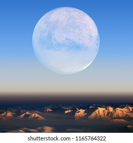 Mars orbit view with clouds and mountain landscape with gradient sky. Science fiction satellite of the planet. Elements of this image furnished by nasa