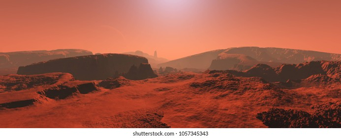 Mars, a panorama of a surface of a planet 3D rendering