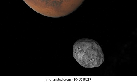 Mars and phobos 3d illustration
