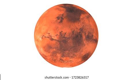 Mars planet 3d rendering white background super high resolution science illustration