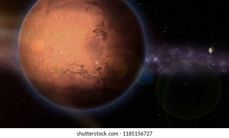 Mars planet with moon