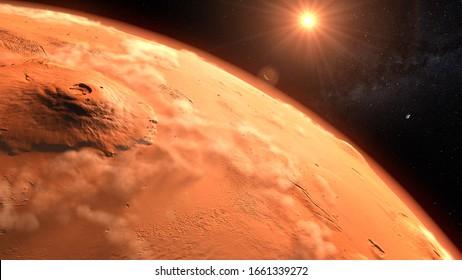 Mars planet sunset sunrise in the space 3d illustration
